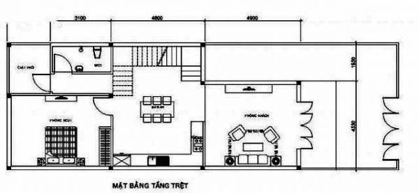 Bản vẽ nhà ống 2 tầng 3 phòng ngủ 5x16m có bàn thờ