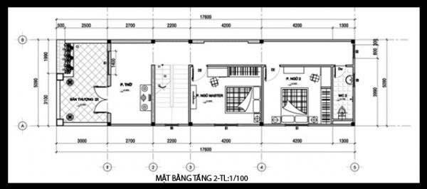 Bản vẽ nhà ống 2 tầng 3 phòng ngủ 5x16m