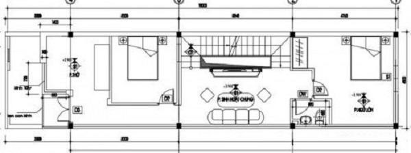 Bản vẽ nhà ống 2 tầng 5x16m2 có phòng sinh hoạt chung