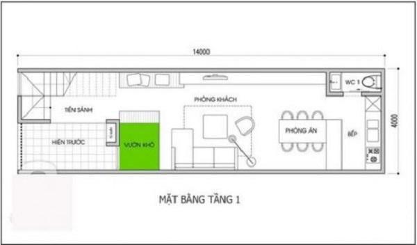 Bản vẽ nhà 2 tầng 5x16m thiết kế đơn giản