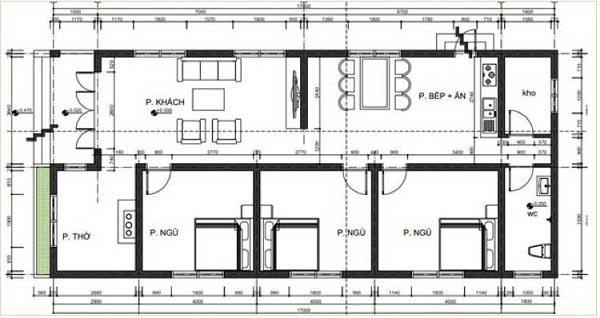 Bản vẽ thiết kế nhà cấp 4 nông thôn mái tôn