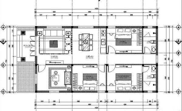 Bản vẽ chi tiết nhà cấp 4 mái thái