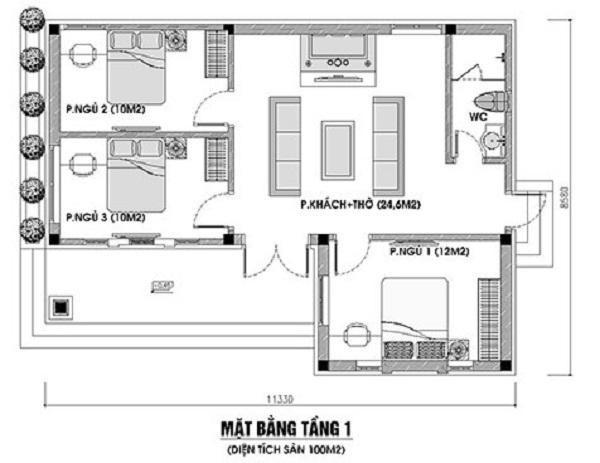 Bản vẽ thiết kế nhà cấp 4 có 3 phòng ngủ