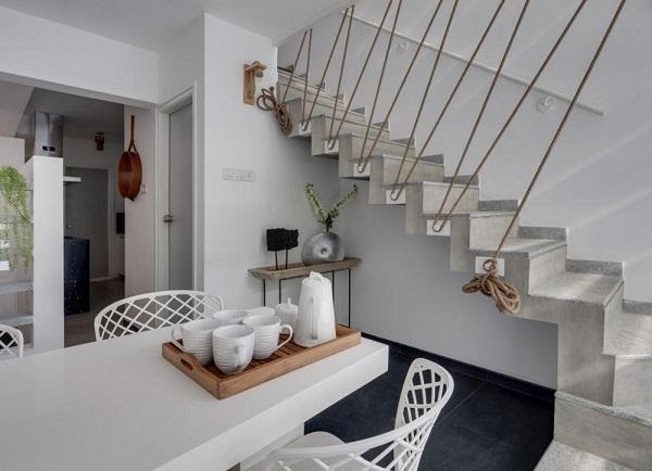 Bạn cũng có thể thử trang trí cầu thang bằng dây thừng