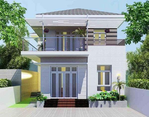 Ngôi nhà 2 tầng với ngoại thất đơn giản
