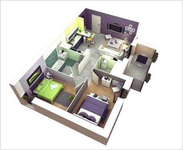 Mẫu thiết kế nhà ống 1 tầng 2 phòng ngủ số 1