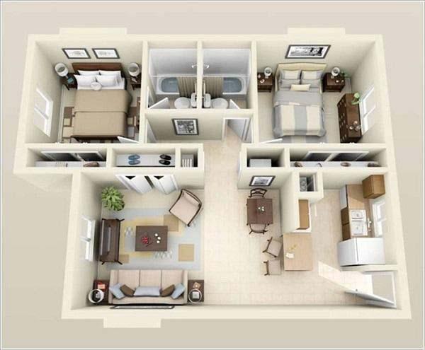 Mẫu thiết kế nhà ống 1 tầng 2 phòng ngủ số 3