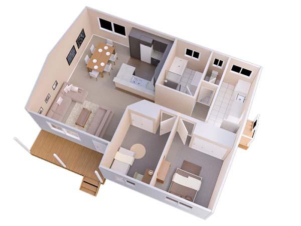 Mẫu thiết kế nhà ống 1 tầng 2 phòng ngủ số 4