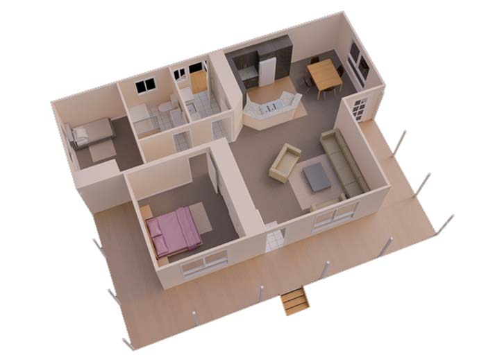 Mẫu thiết kế nhà ống 1 tầng 2 phòng ngủ số 5