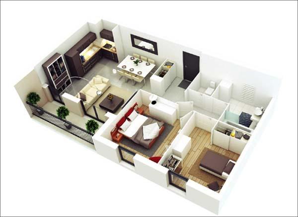 Mẫu thiết kế nhà ống 1 tầng 2 phòng ngủ số 7