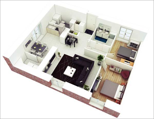Mẫu thiết kế nhà ống 1 tầng 2 phòng ngủ số 8