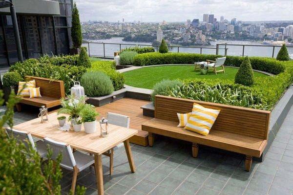 Thiết kế vườn sân thượng kết hợp khu ăn uống