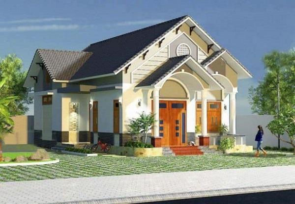 Mẫu nhà mái thái 1 tầng nông thôn