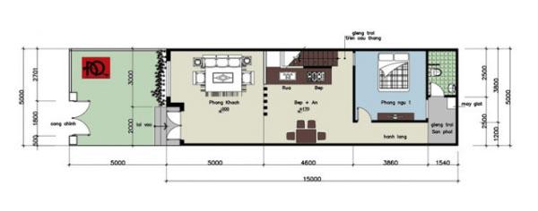 Bản thiết kế nhà cấp4 có gác lửng 5x15
