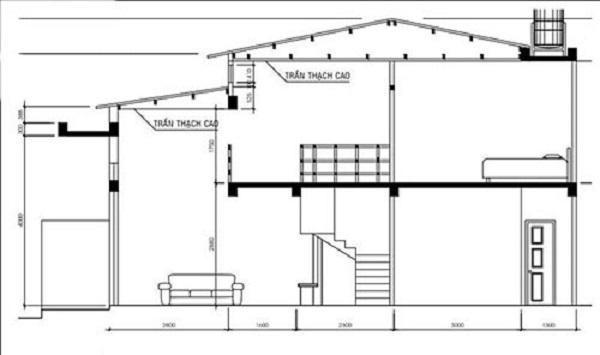 Bản vẽ hoàn chỉnh ngôi nhà cấp 4 có tầng lửng