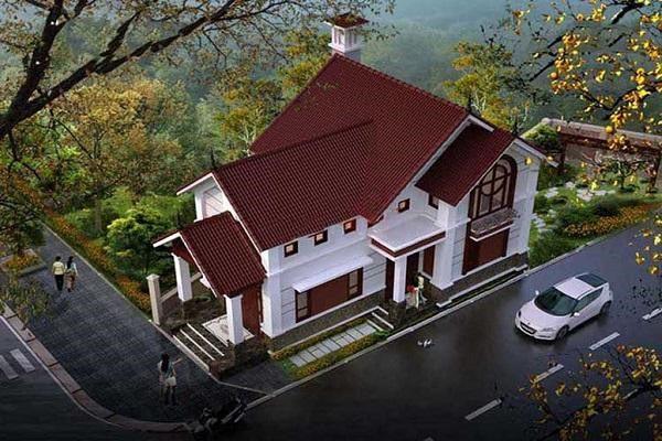 Nhà cấp 4 mái thái có gác lửng thiết kế kiểu nhà vườn