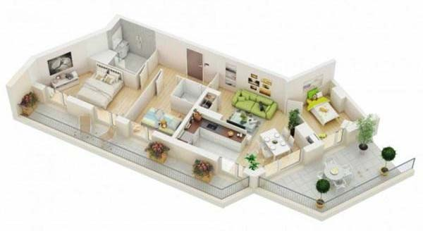 Mẫu nhà 1 tầng 3 phòng ngủ cho nhà bị gấp khúc