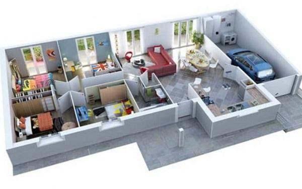 Mẫu thiết kế nhà ống 1 tầng 3 phòng ngủ có gara ô tô
