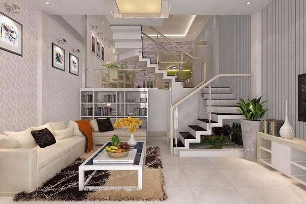 Phòng khách nhà ống 40m2 thiết kế 2 tầng lệch tầng