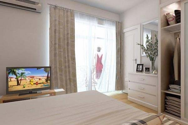 Phòng ngủ nhà ống 40m2 thiết kế 2 tầng lệch tầng