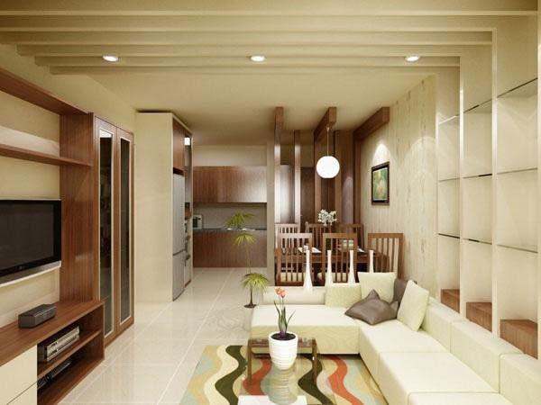 Phòng khách nhà ống 2 tầng diện tích 5x8m