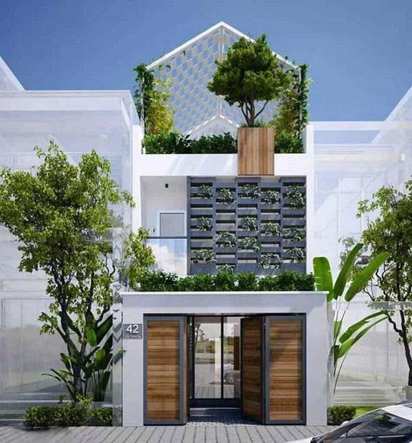 Mẫu nhà mái thái 2 tầng với tum đặc biệt