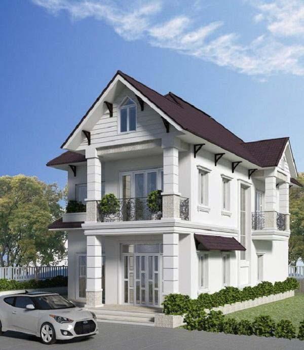 Mẫu nhà mái thái 2 tầng cổ điển