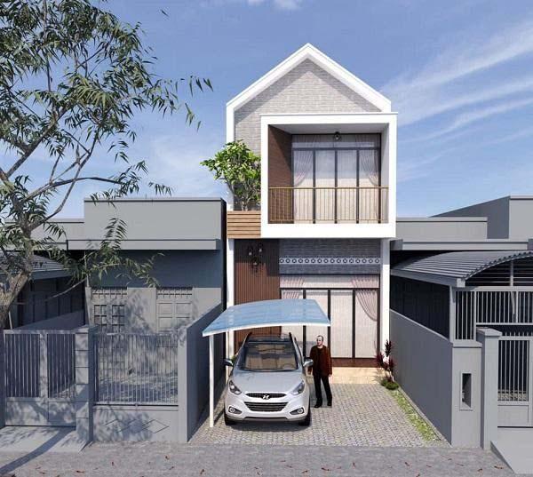 Nhà 2 tầng mái thái với gara ô tô