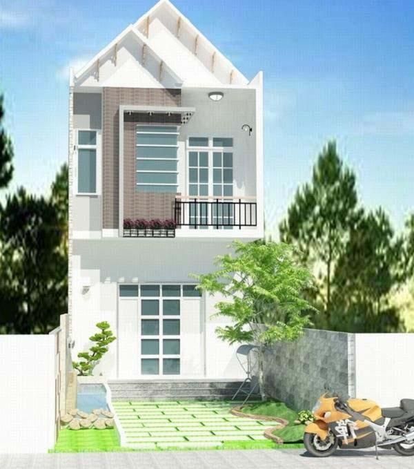 Mẫu nhà 2 tầng mái thái với cây xanh