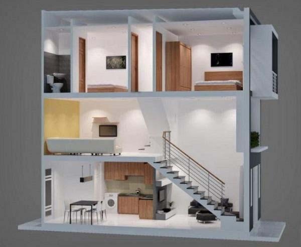 Ý tưởng thiết kế mẫu nhà phố 1 trệt 1 lửng 1 lầu