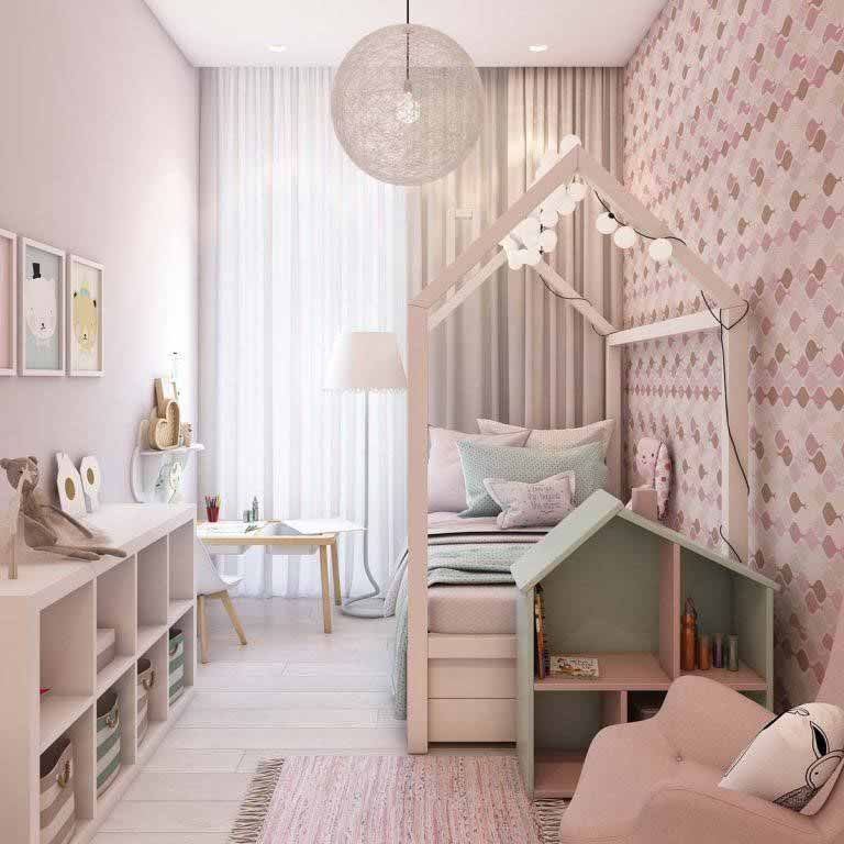 Không gian phòng ngủ bé gái chung cư diện tích 70m2