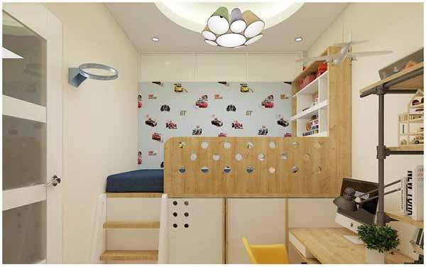 Phòng ngủ chung cư 70m2 cho bé trai