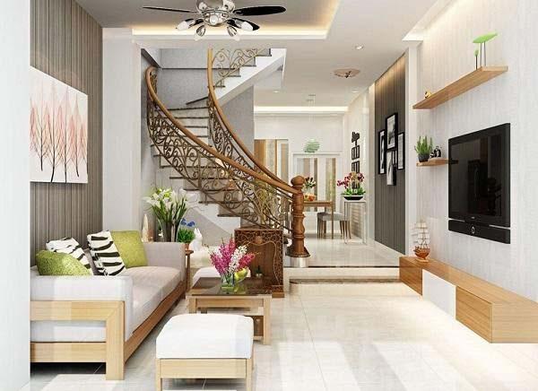 Phòng khách nhà ống 4m với tay vịn cầu thang hoa văn