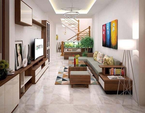 Phòng khách nhà ống 4m với màu sắc đa dạng