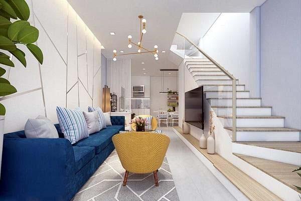 Mẫu phòng khách nhà ống 4m với điểm nhấm là bộ sofa