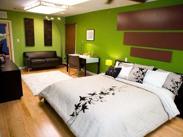 Thiết kế phòng ngủ với gam màu xanh lá chủ đạo