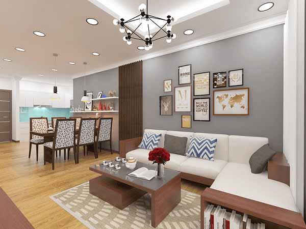 Phòng khách với những màu sắc nổi bật