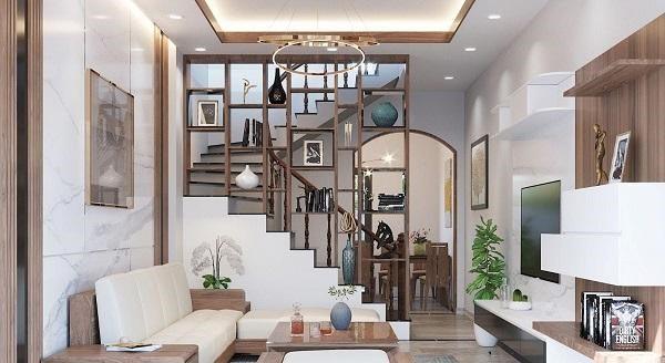Vách ngăn cầu thang làm kệ trang trí