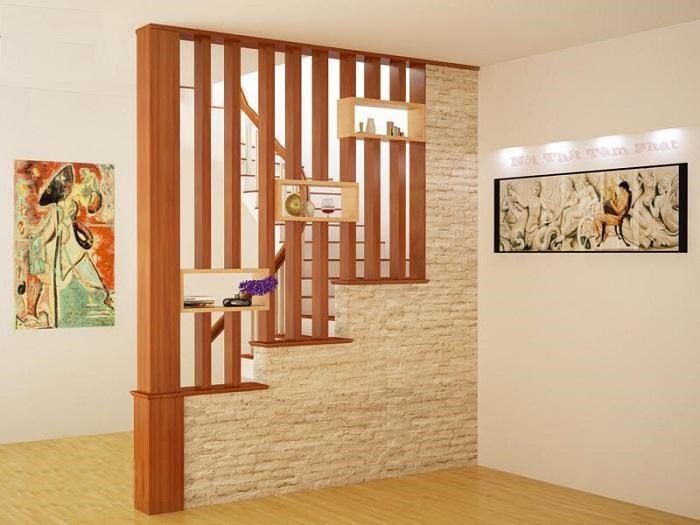 Vách ngăn cầu thang bằng gỗ
