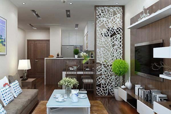 Vách ngăn phòng khách và phòng bếp dạng treo