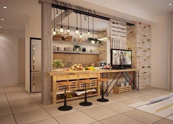 Ngăn cách phòng khách và phòng ăn bằng quầy bar