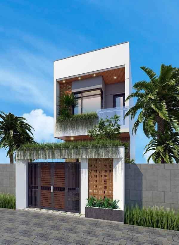 Ngôi nhà 2 tầng 100m2 được thiết kế với nhiều cây xanh
