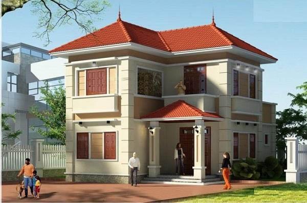 Thiết kế ngôi nhà 2 tầng có sân chơi