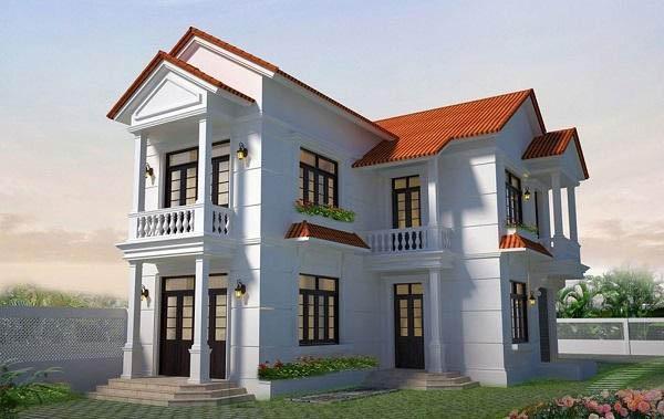 Kiến trúc ngôi nhà 2 tầng chữ L mái ngói