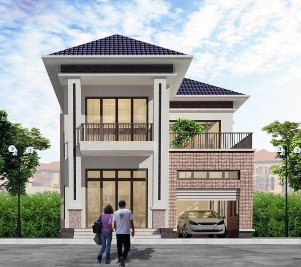 Ngôi nhà 2 tầng hình chữ L có gara ô tô