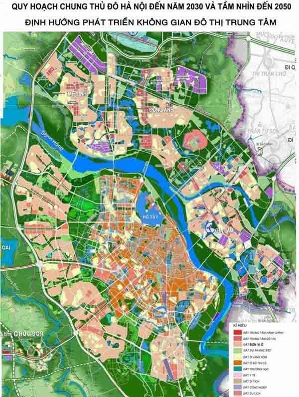 Bản đồ quy hoạch Hà Nội đến năm 2030