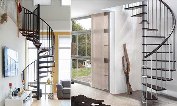 Không nên dùng loại cầu thang xoắn quanh cột