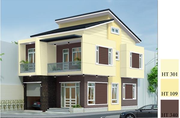 Phối màu sơn nhà đẹp với màu vàng - nâu
